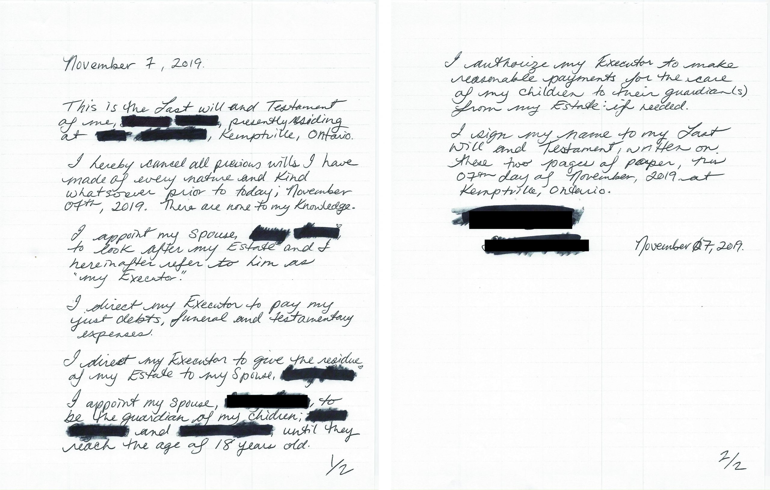 Handwritten will